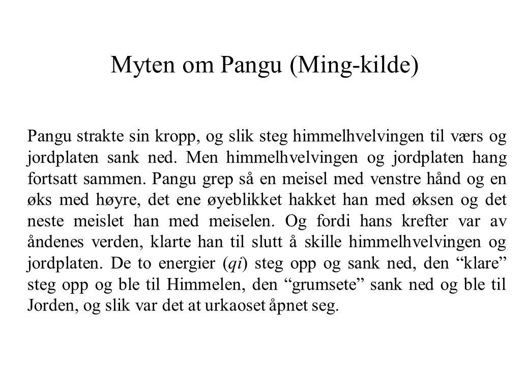 Myten om Pangu (Ming-kilde) Pangu strakte sin kropp, og slik steg himmelhvelvingen til værs og jordplaten sank ned. Men himmelhvelvingen og jordplaten