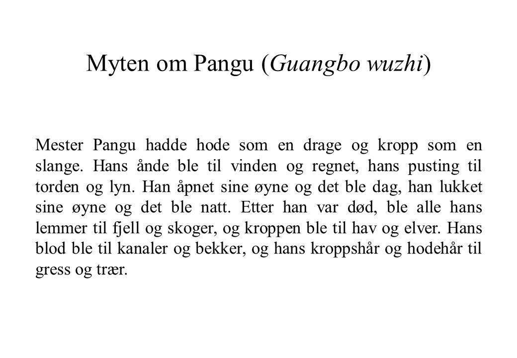 Myten om Pangu (Guangbo wuzhi) Mester Pangu hadde hode som en drage og kropp som en slange. Hans ånde ble til vinden og regnet, hans pusting til torde