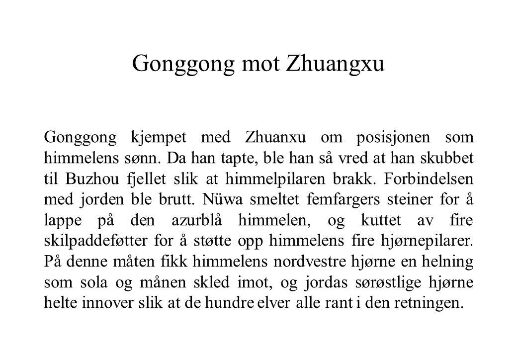 Gonggong mot Zhuangxu Gonggong kjempet med Zhuanxu om posisjonen som himmelens sønn. Da han tapte, ble han så vred at han skubbet til Buzhou fjellet s
