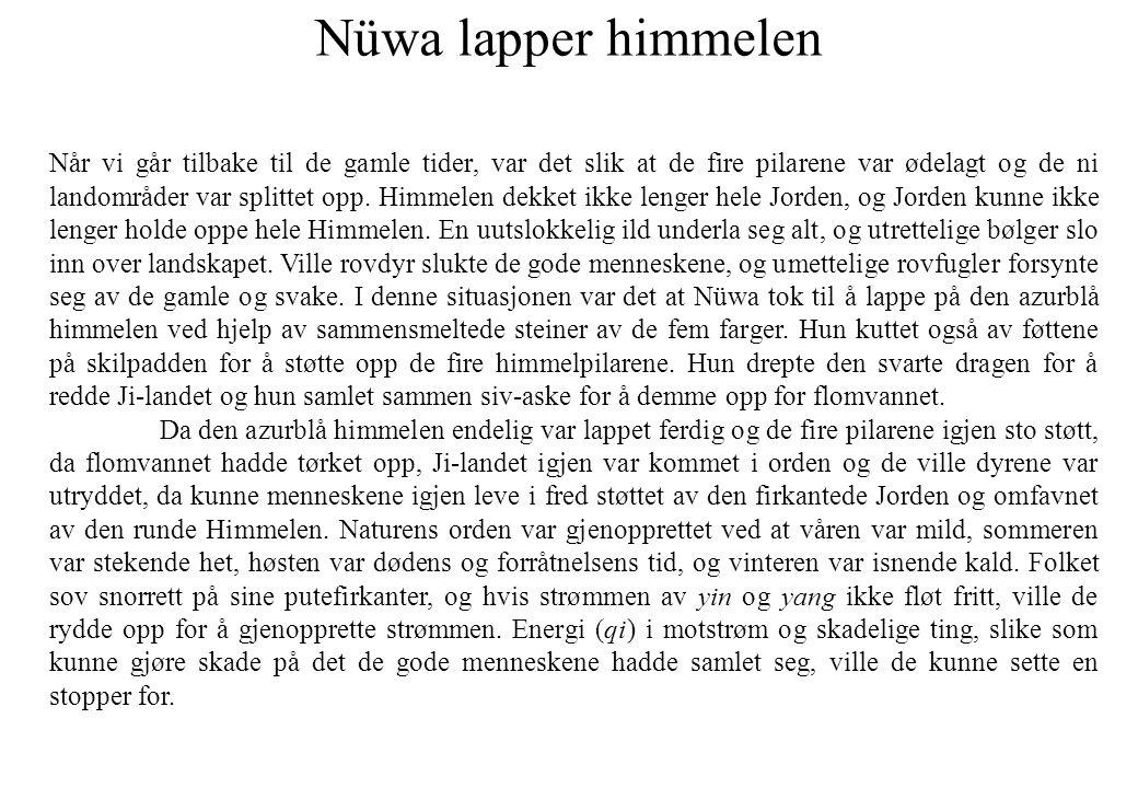 Nüwa lapper himmelen Når vi går tilbake til de gamle tider, var det slik at de fire pilarene var ødelagt og de ni landområder var splittet opp. Himmel
