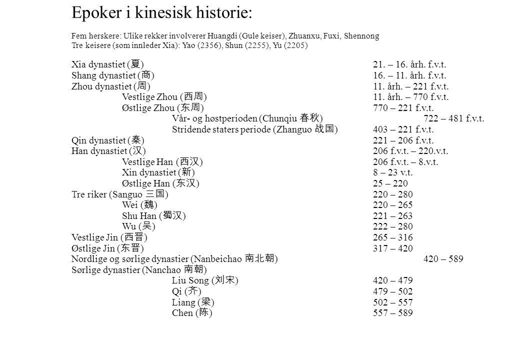 Epoker i kinesisk historie Epoker i kinesisk historie: Fem herskere: Ulike rekker involverer Huangdi (Gule keiser), Zhuanxu, Fuxi, Shennong Tre keiser