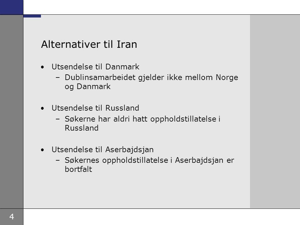 4 Alternativer til Iran Utsendelse til Danmark –Dublinsamarbeidet gjelder ikke mellom Norge og Danmark Utsendelse til Russland –Søkerne har aldri hatt oppholdstillatelse i Russland Utsendelse til Aserbajdsjan –Søkernes oppholdstillatelse i Aserbajdsjan er bortfalt