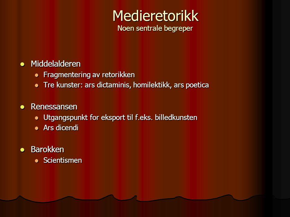 Middelalderen Middelalderen Fragmentering av retorikken Fragmentering av retorikken Tre kunster: ars dictaminis, homilektikk, ars poetica Tre kunster: