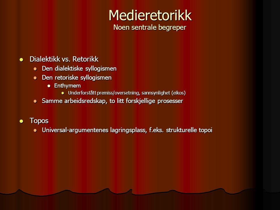 Dialektikk vs. Retorikk Dialektikk vs. Retorikk Den dialektiske syllogismen Den dialektiske syllogismen Den retoriske syllogismen Den retoriske syllog