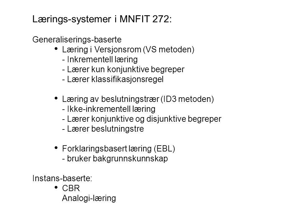 Lærings-systemer i MNFIT 272: Generaliserings-baserte Læring i Versjonsrom (VS metoden) - Inkrementell læring - Lærer kun konjunktive begreper - Lærer