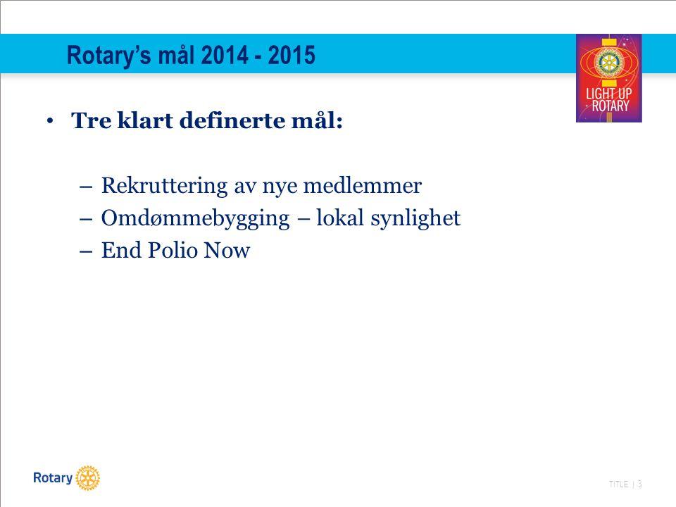 TITLE | 3 Rotary's mål 2014 - 2015 Tre klart definerte mål: – Rekruttering av nye medlemmer – Omdømmebygging – lokal synlighet – End Polio Now