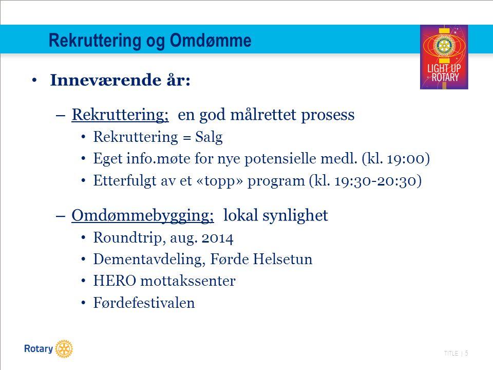 TITLE | 5 Rekruttering og Omdømme Inneværende år: – Rekruttering; en god målrettet prosess Rekruttering = Salg Eget info.møte for nye potensielle medl.