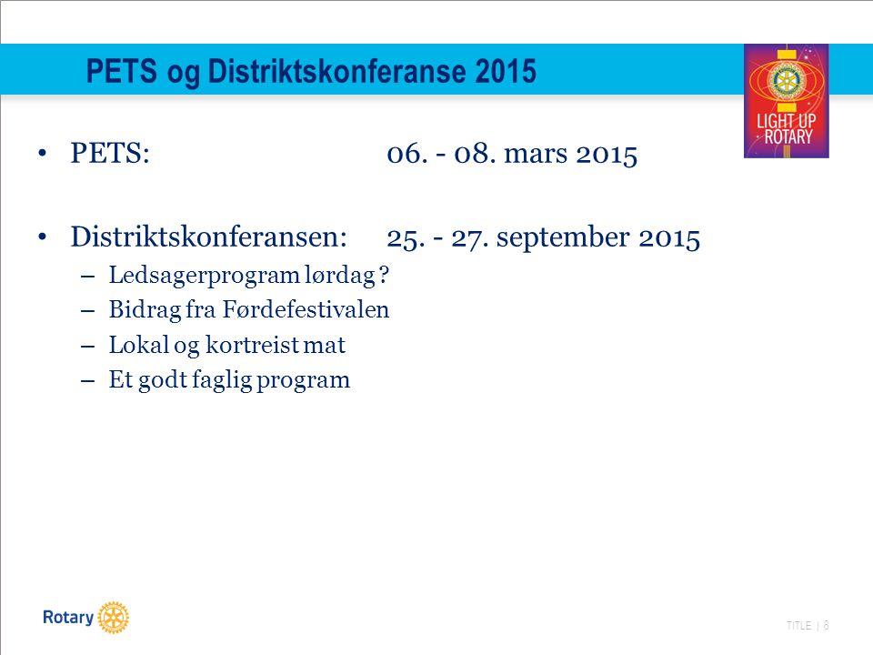 TITLE | 8 PETS og Distriktskonferanse 2015 PETS: 06.