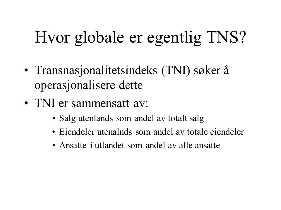 Hvor globale er egentlig TNS? Transnasjonalitetsindeks (TNI) søker å operasjonalisere dette TNI er sammensatt av: Salg utenlands som andel av totalt s