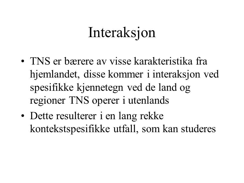 Interaksjon TNS er bærere av visse karakteristika fra hjemlandet, disse kommer i interaksjon ved spesifikke kjennetegn ved de land og regioner TNS operer i utenlands Dette resulterer i en lang rekke kontekstspesifikke utfall, som kan studeres
