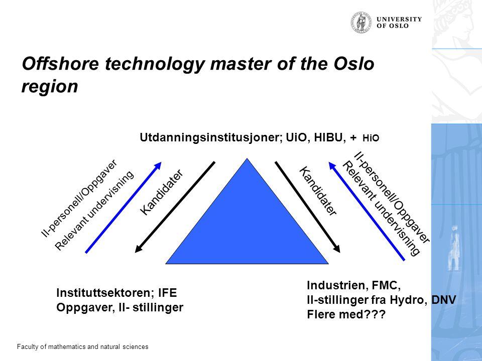 Faculty of mathematics and natural sciences Offshore technology master of the Oslo region Utdanningsinstitusjoner; UiO, HIBU, + HiO Instituttsektoren; IFE Oppgaver, II- stillinger Industrien, FMC, II-stillinger fra Hydro, DNV Flere med??.