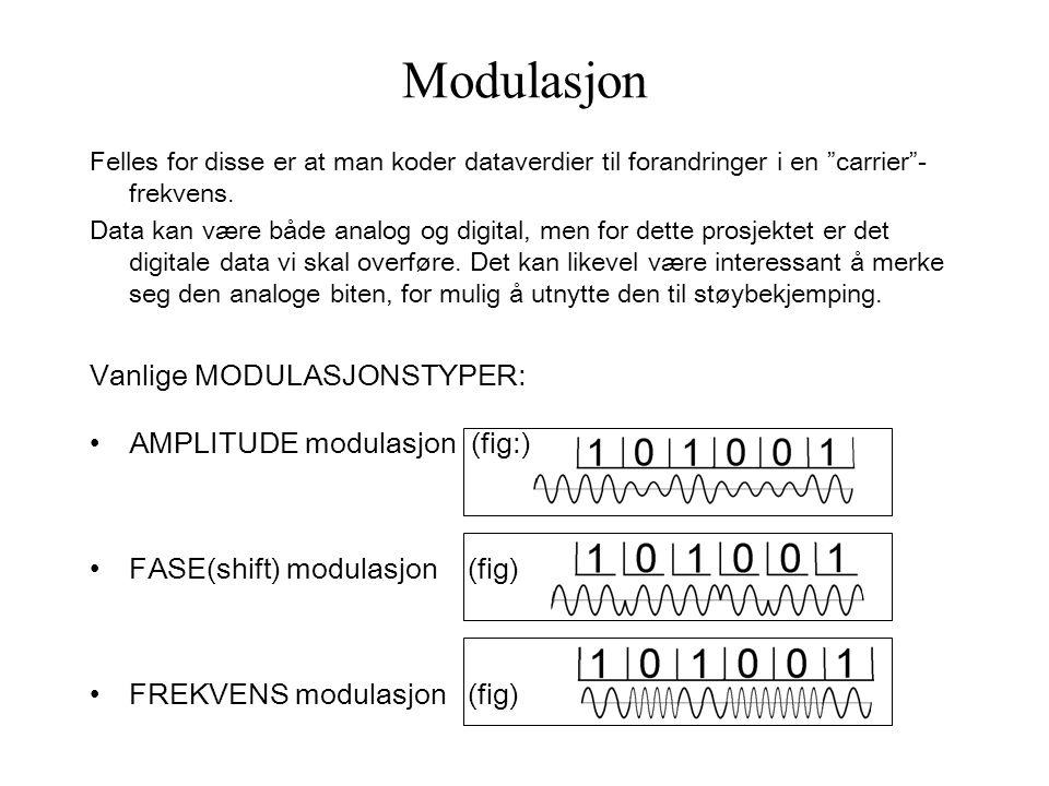 Modulasjon Felles for disse er at man koder dataverdier til forandringer i en carrier - frekvens.