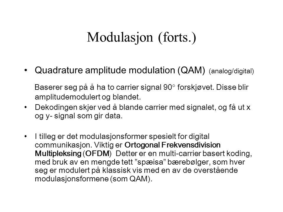 Modulasjon (forts.) Quadrature amplitude modulation (QAM) (analog/digital) Baserer seg på å ha to carrier signal 90  forskjøvet. Disse blir amplitude