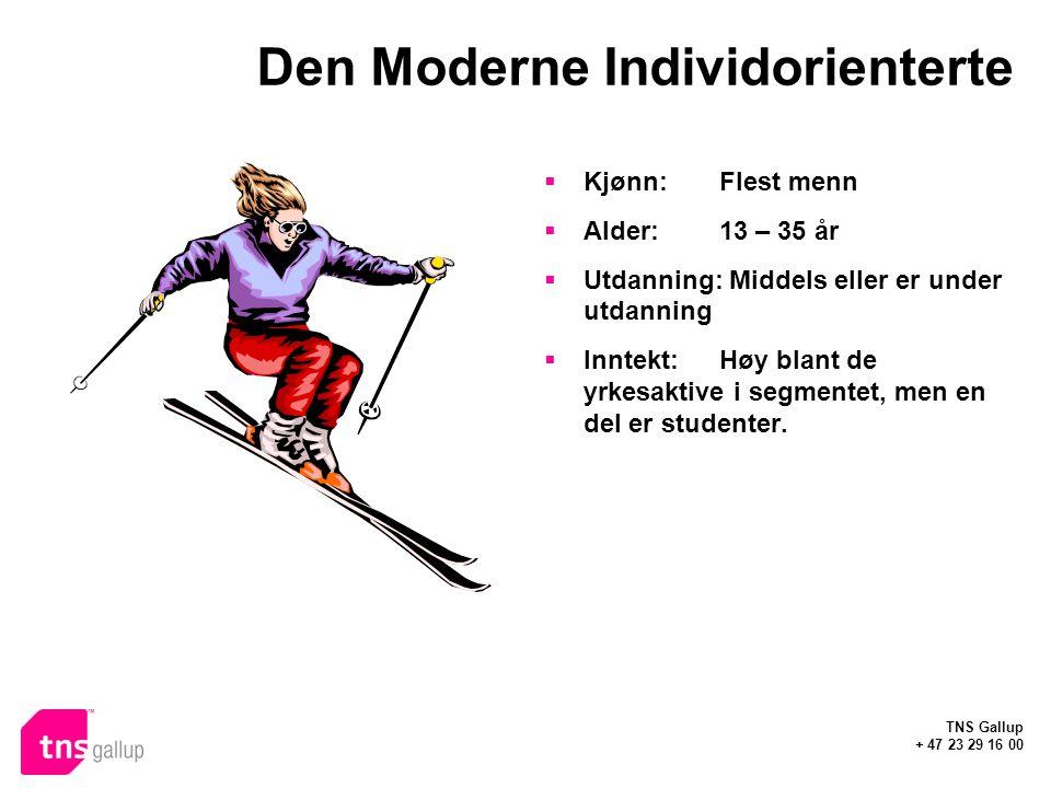 TNS Gallup + 47 23 29 16 00 Den Moderne Individorienterte  Kjønn: Flest menn  Alder:13 – 35 år  Utdanning: Middels eller er under utdanning  Inntekt:Høy blant de yrkesaktive i segmentet, men en del er studenter.