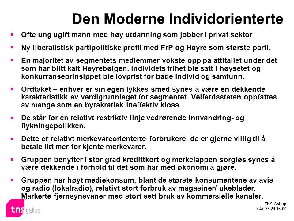 TNS Gallup + 47 23 29 16 00 Den Moderne Individorienterte  Ofte ung ugift mann med høy utdanning som jobber i privat sektor  Ny-liberalistisk partipolitiske profil med FrP og Høyre som største parti.