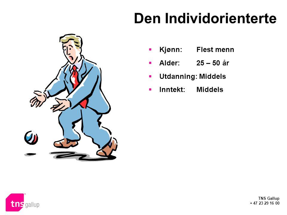 TNS Gallup + 47 23 29 16 00 Den Individorienterte  Kjønn: Flest menn  Alder:25 – 50 år  Utdanning: Middels  Inntekt:Middels