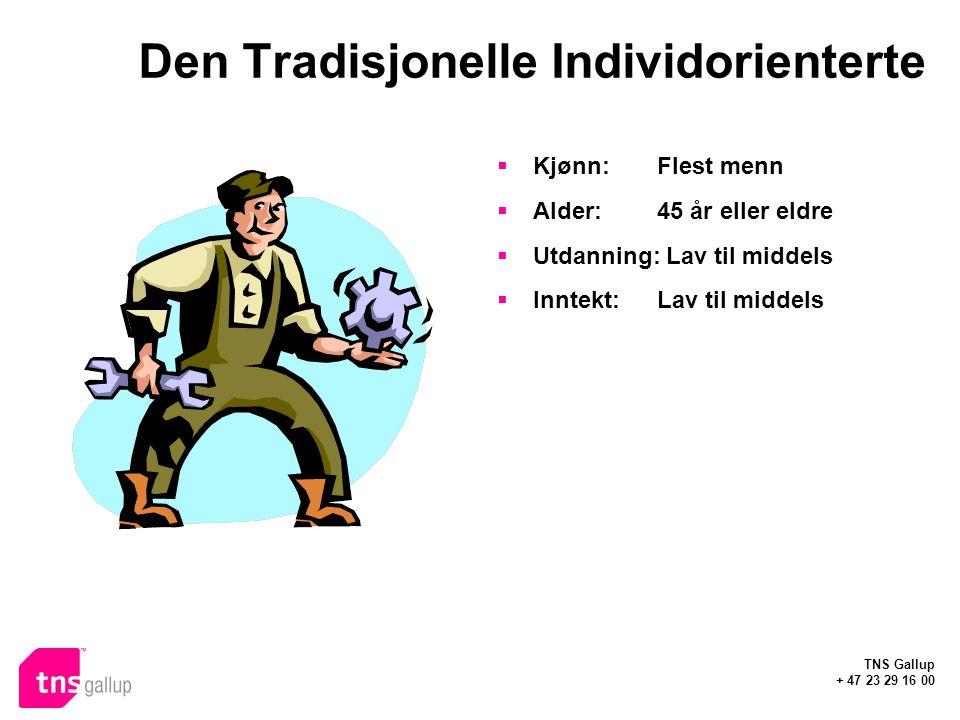 TNS Gallup + 47 23 29 16 00 Den Tradisjonelle Individorienterte  Kjønn: Flest menn  Alder:45 år eller eldre  Utdanning: Lav til middels  Inntekt:Lav til middels