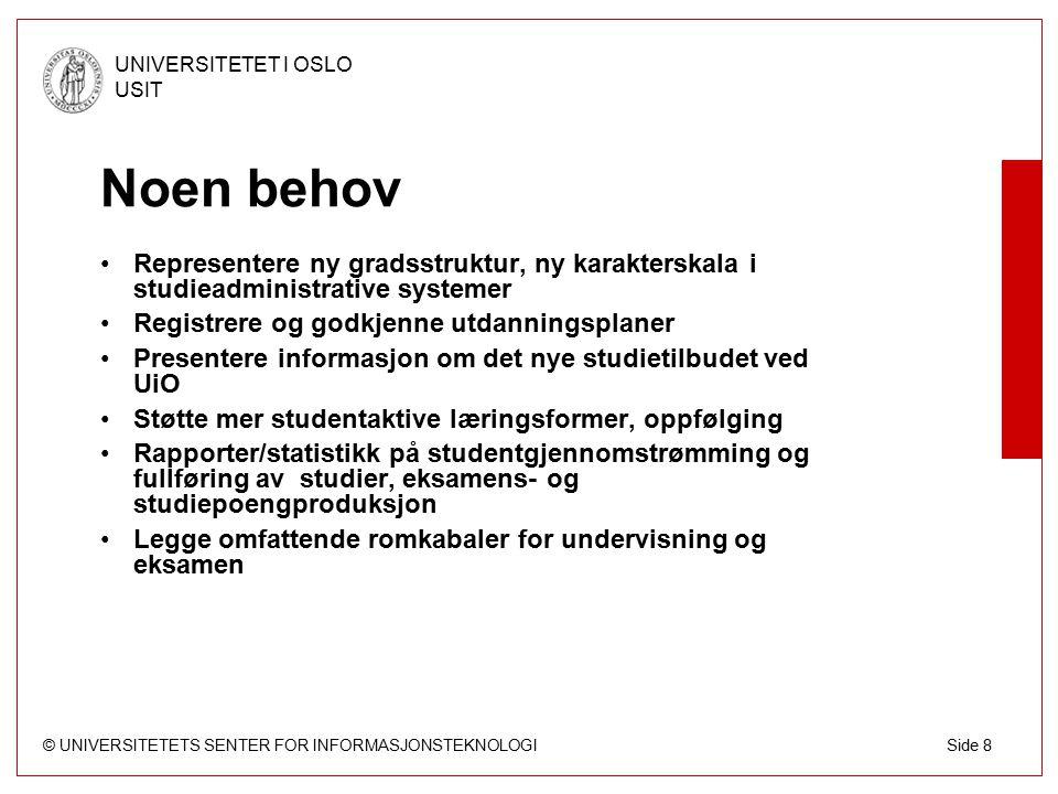 © UNIVERSITETETS SENTER FOR INFORMASJONSTEKNOLOGI UNIVERSITETET I OSLO USIT Side 39 FEIDE FEIDE-prosjektet etablerer felles elektronisk identitet for brukere innenfor norsk utdanningssektor: universiteter, høgskoler, videregående skoler og grunnskoler.