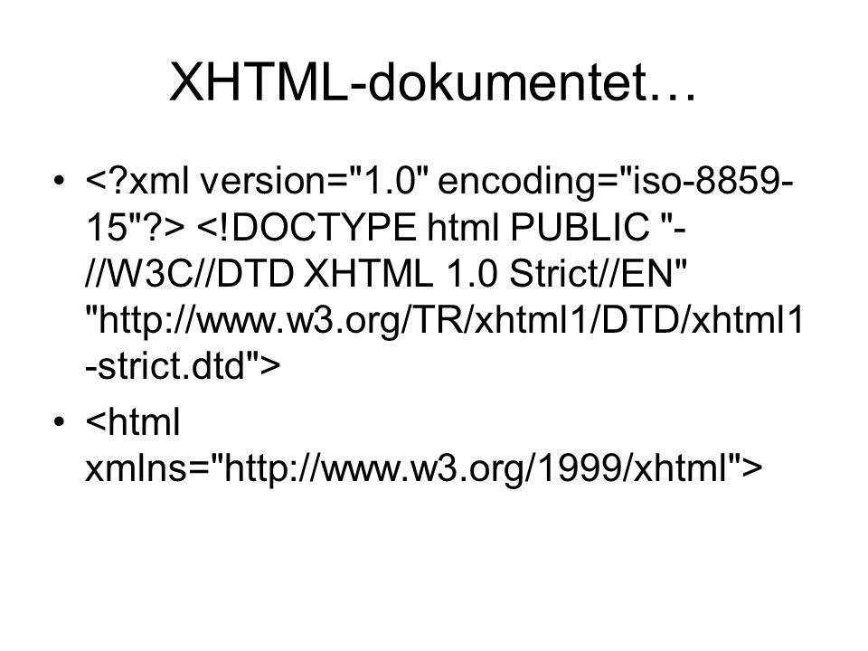 XHTML-dokumentet…