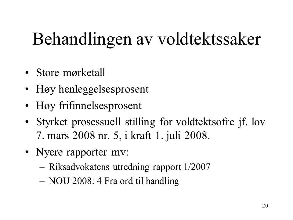 20 Behandlingen av voldtektssaker Store mørketall Høy henleggelsesprosent Høy frifinnelsesprosent Styrket prosessuell stilling for voldtektsofre jf.