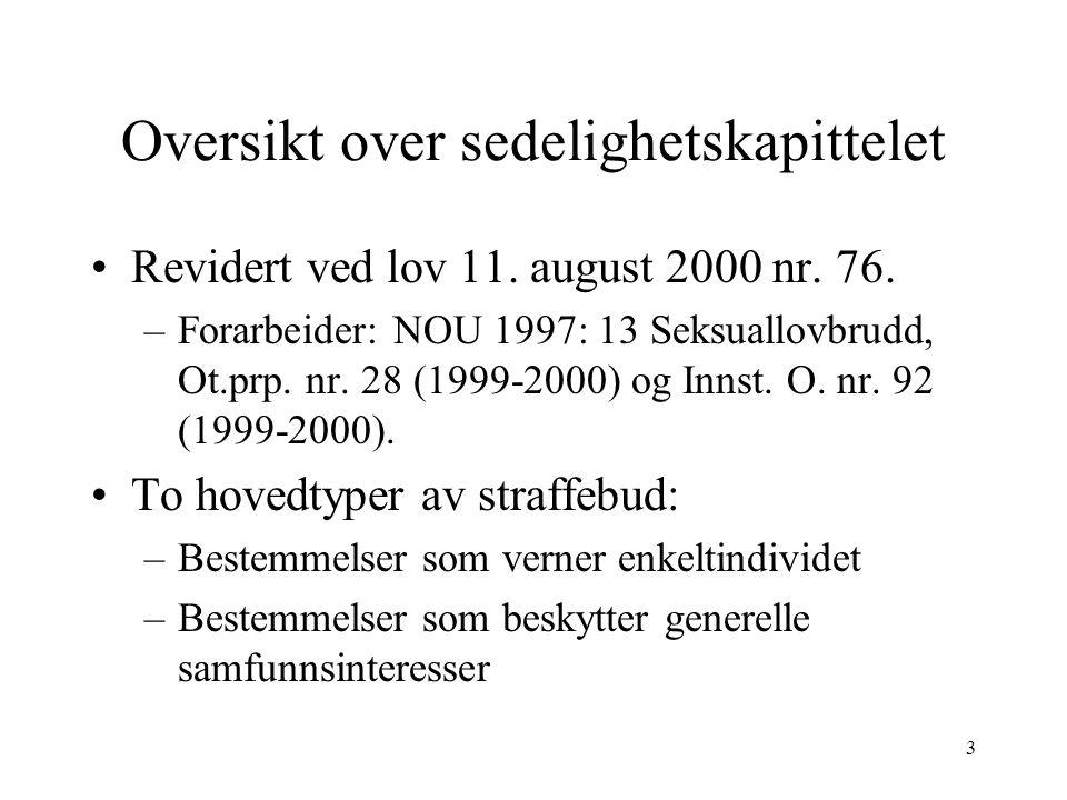 3 Oversikt over sedelighetskapittelet Revidert ved lov 11.