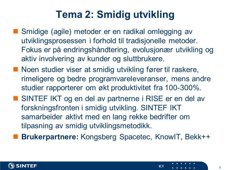 ICT Tema 2: Smidig utvikling Smidige (agile) metoder er en radikal omlegging av utviklingsprosessen i forhold til tradisjonelle metoder.