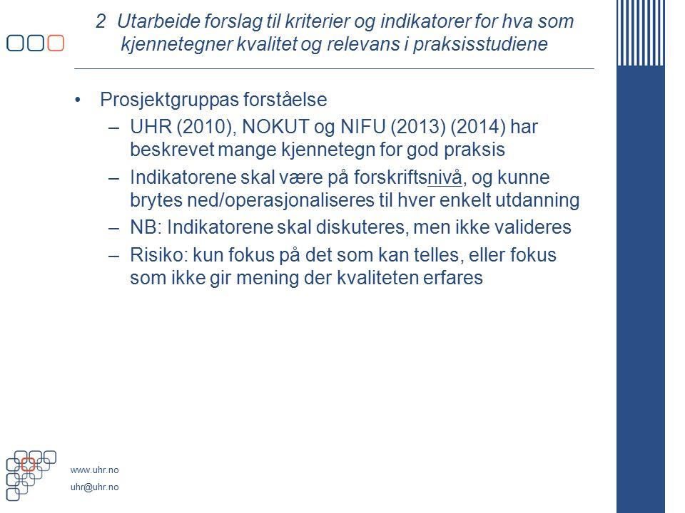 www.uhr.no uhr@uhr.no 2 Utarbeide forslag til kriterier og indikatorer for hva som kjennetegner kvalitet og relevans i praksisstudiene Prosjektgruppas