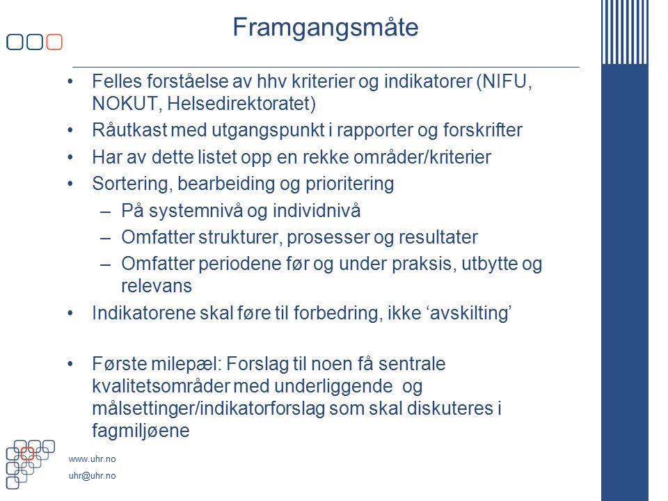 www.uhr.no uhr@uhr.no Framgangsmåte Felles forståelse av hhv kriterier og indikatorer (NIFU, NOKUT, Helsedirektoratet) Råutkast med utgangspunkt i rap