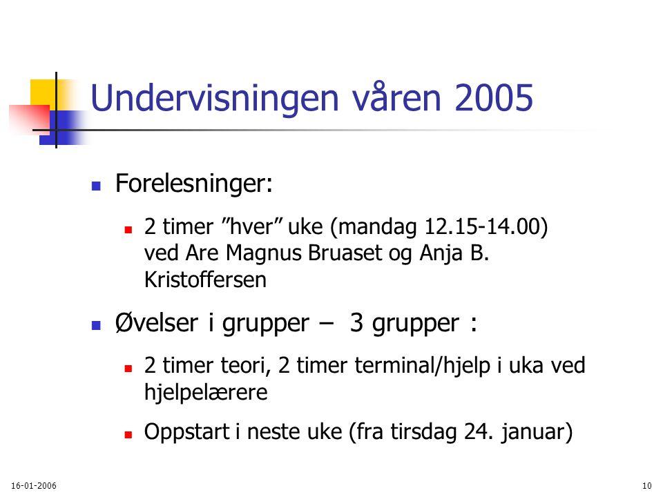 16-01-200610 Undervisningen våren 2005 Forelesninger: 2 timer hver uke (mandag 12.15-14.00) ved Are Magnus Bruaset og Anja B.