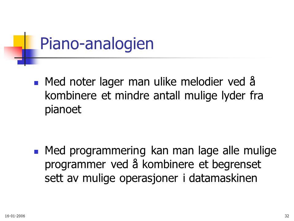 16-01-200632 Piano-analogien Med noter lager man ulike melodier ved å kombinere et mindre antall mulige lyder fra pianoet Med programmering kan man lage alle mulige programmer ved å kombinere et begrenset sett av mulige operasjoner i datamaskinen