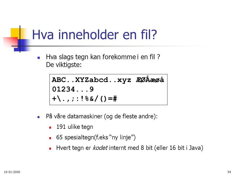 16-01-200654 Hva slags tegn kan forekomme i en fil .