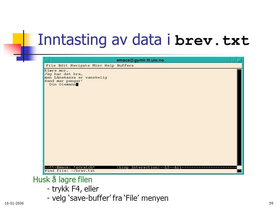 16-01-200659 Inntasting av data i brev.txt Husk å lagre filen - trykk F4, eller - velg 'save-buffer' fra 'File' menyen