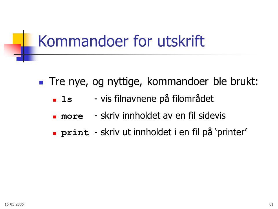 16-01-200661 Kommandoer for utskrift Tre nye, og nyttige, kommandoer ble brukt: ls - vis filnavnene på filområdet more - skriv innholdet av en fil sidevis print - skriv ut innholdet i en fil på 'printer'