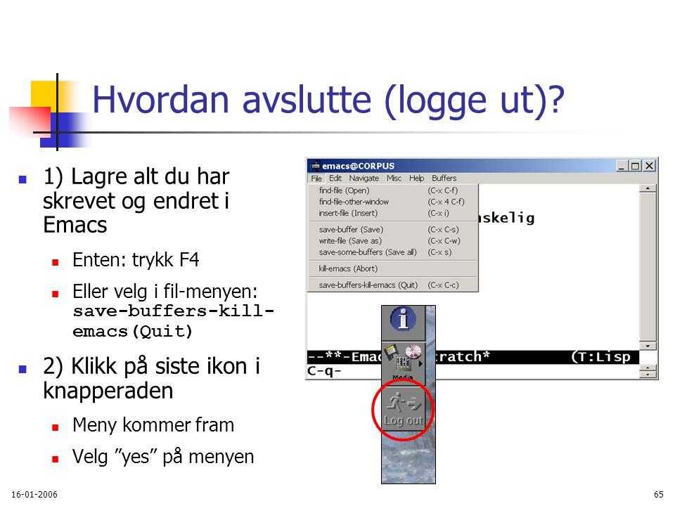 16-01-200665 Hvordan avslutte (logge ut).