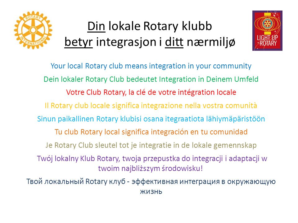 Din lokale Rotary klubb betyr integrasjon i ditt nærmiljø Your local Rotary club means integration in your community Dein lokaler Rotary Club bedeutet