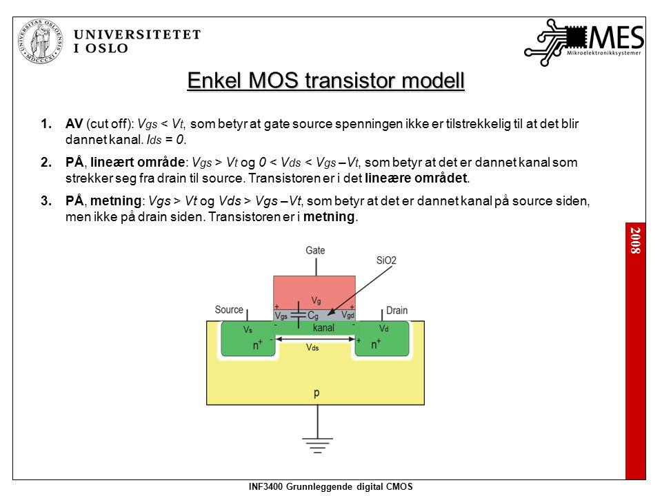 2008 INF3400 Grunnleggende digital CMOS Enkel MOS transistor modell 1.AV (cut off): V gs < V t, som betyr at gate source spenningen ikke er tilstrekkelig til at det blir dannet kanal.