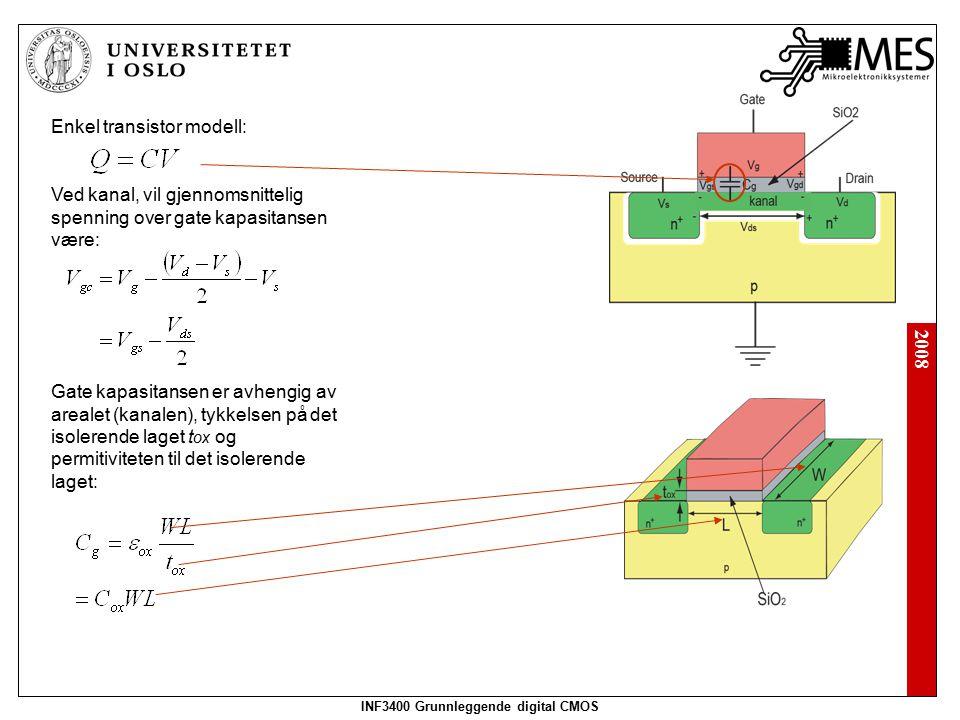 2008 INF3400 Grunnleggende digital CMOS Gjennomsnittelig hastighet til ladningsbærere i kanalen vil bli bestemt av det elektriske feltet E over kanalen og ladningsbærernes mobilitet  : Det elektriske feltet er avhengig av spenningen over kanalen Vd s og kanalens lengde L: Tiden det tar for en ladningsbærer å krysse kanalen er gitt av kanalens lengde og ladningsbærernes hastighet: Strøm mellom drain og source kan uttrykkes som den totale mengde ladning i kanalen dividert på tiden som behøves for å krysse kanalen: