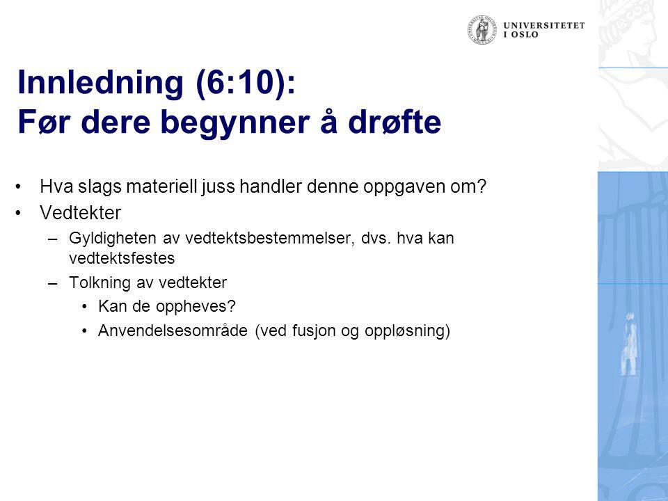 Spørsmål 5: (4:4) Foreligger det en plikt til å videreføre vedtektsbestemmelsen i det overtakende selskap etter fusjonen.