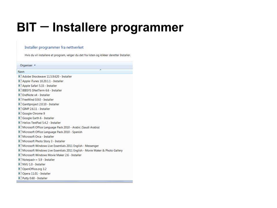 BIT – Installere programmer