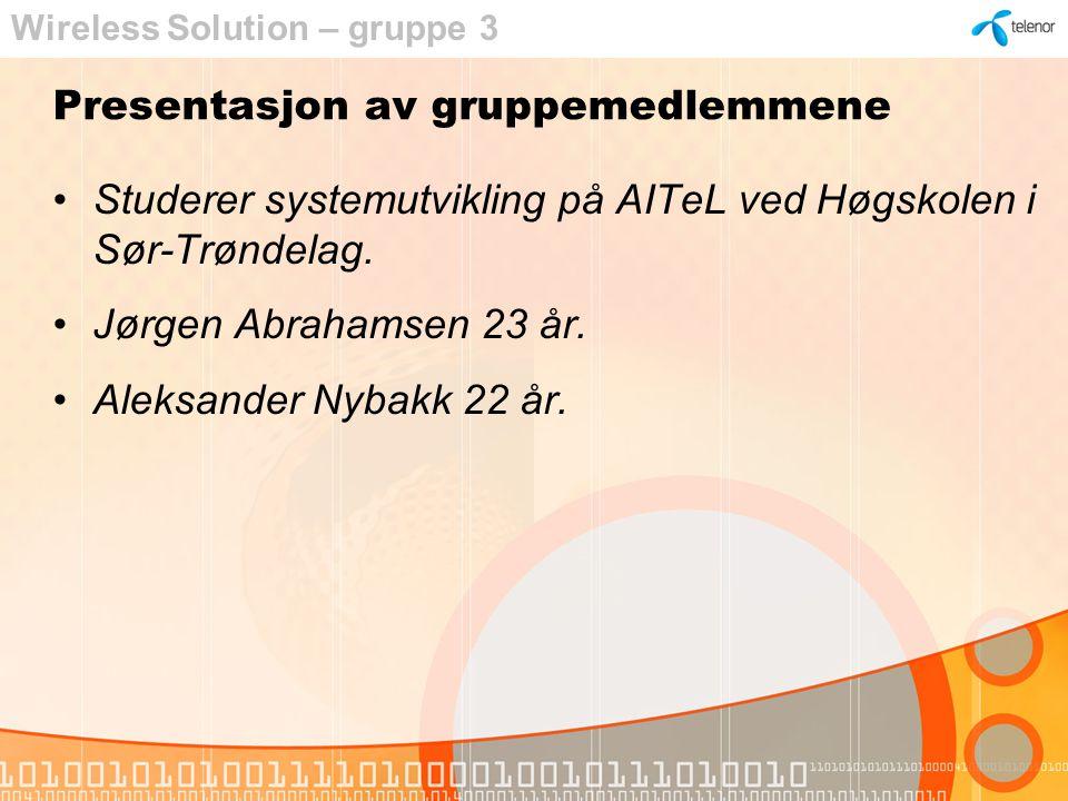 Presentasjon av gruppemedlemmene Studerer systemutvikling på AITeL ved Høgskolen i Sør-Trøndelag.
