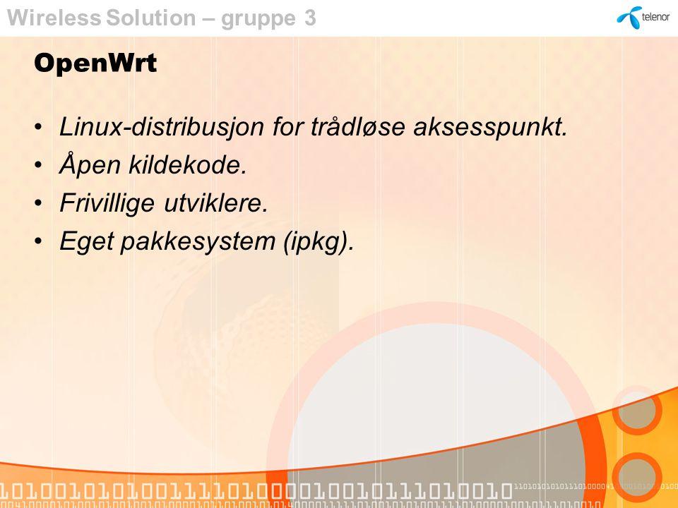 OpenWrt demo Wireless Solution – gruppe 3