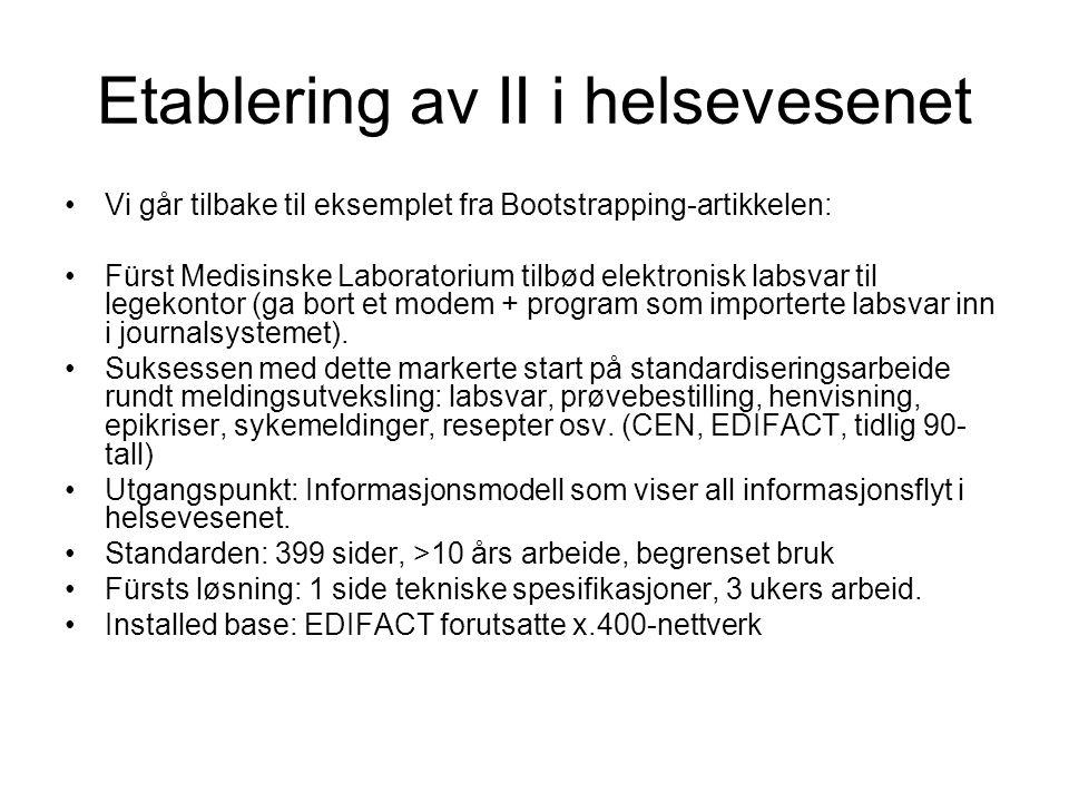 Etablering av II i helsevesenet Vi går tilbake til eksemplet fra Bootstrapping-artikkelen: Fürst Medisinske Laboratorium tilbød elektronisk labsvar til legekontor (ga bort et modem + program som importerte labsvar inn i journalsystemet).