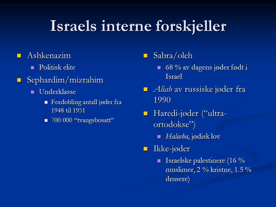 Israels interne forskjeller Ashkenazim Ashkenazim Politisk elite Politisk elite Sephardim/mizrahim Sephardim/mizrahim Underklasse Underklasse Fordobling antall jøder fra 1948 til 1951 Fordobling antall jøder fra 1948 til 1951 700 000 tvangsbosatt 700 000 tvangsbosatt Sabra/oleh 68 % av dagens jøder født i Israel Aliah av russiske jøder fra 1990 Haredi-jøder ( ultra- ortodokse ) Halacha, jødisk lov Ikke-jøder Israelske palestinere (16 % muslimer, 2 % kristne, 1.5 % drusere)