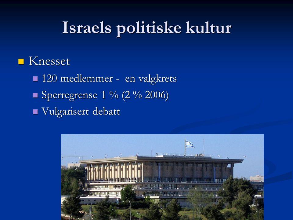 Israels politiske kultur Knesset Knesset 120 medlemmer - en valgkrets 120 medlemmer - en valgkrets Sperregrense 1 % (2 % 2006) Sperregrense 1 % (2 % 2006) Vulgarisert debatt Vulgarisert debatt