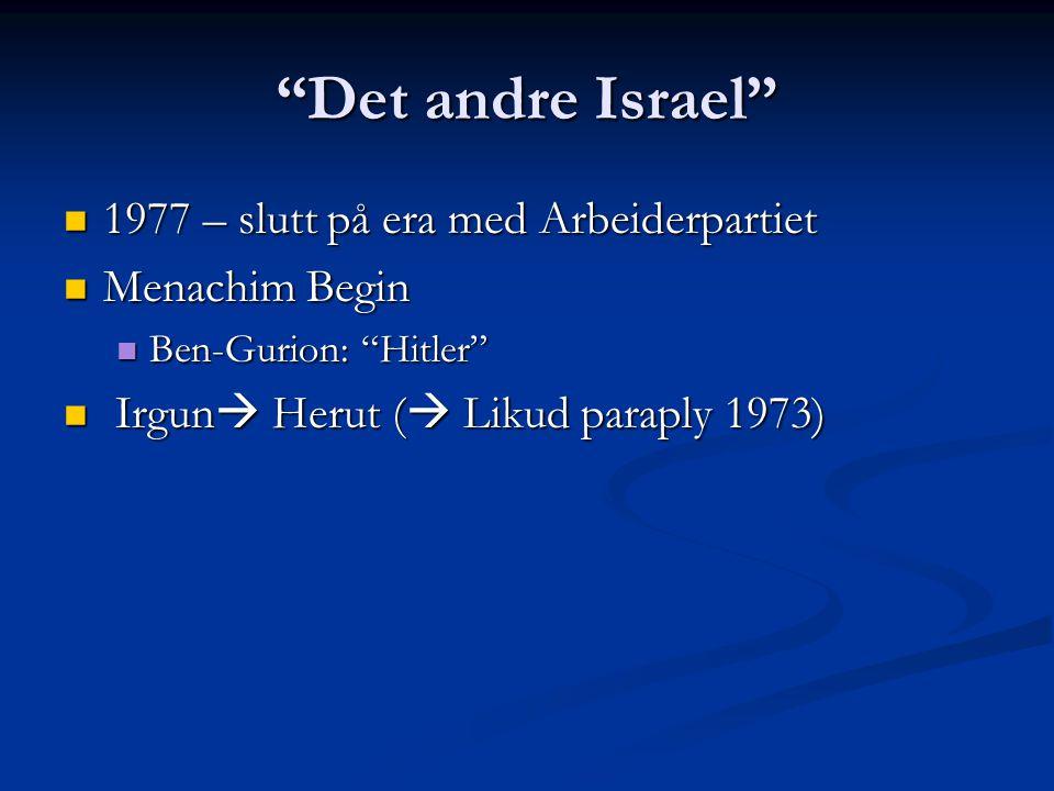 Det andre Israel 1977 – slutt på era med Arbeiderpartiet 1977 – slutt på era med Arbeiderpartiet Menachim Begin Menachim Begin Ben-Gurion: Hitler Ben-Gurion: Hitler Irgun  Herut (  Likud paraply 1973) Irgun  Herut (  Likud paraply 1973)