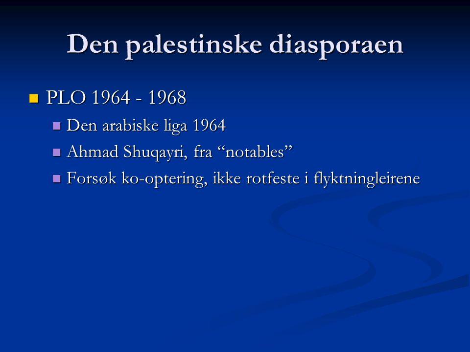 Den palestinske diasporaen PLO 1964 - 1968 PLO 1964 - 1968 Den arabiske liga 1964 Den arabiske liga 1964 Ahmad Shuqayri, fra notables Ahmad Shuqayri, fra notables Forsøk ko-optering, ikke rotfeste i flyktningleirene Forsøk ko-optering, ikke rotfeste i flyktningleirene