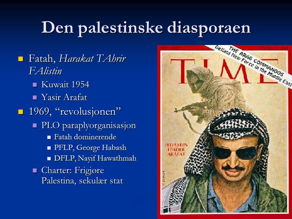 Den palestinske diasporaen Fatah, Harakat TAhrir FAlistin Fatah, Harakat TAhrir FAlistin Kuwait 1954 Kuwait 1954 Yasir Arafat Yasir Arafat 1969, revolusjonen 1969, revolusjonen PLO paraplyorganisasjon PLO paraplyorganisasjon Fatah dominerende Fatah dominerende PFLP, George Habash PFLP, George Habash DFLP, Nayif Hawathmah DFLP, Nayif Hawathmah Charter: Frigjøre Palestina, sekulær stat Charter: Frigjøre Palestina, sekulær stat
