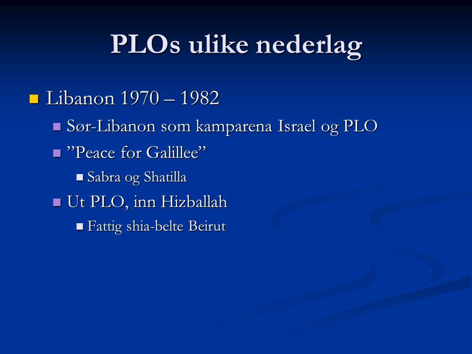 """PLOs ulike nederlag Libanon 1970 – 1982 Libanon 1970 – 1982 Sør-Libanon som kamparena Israel og PLO Sør-Libanon som kamparena Israel og PLO """"Peace for"""
