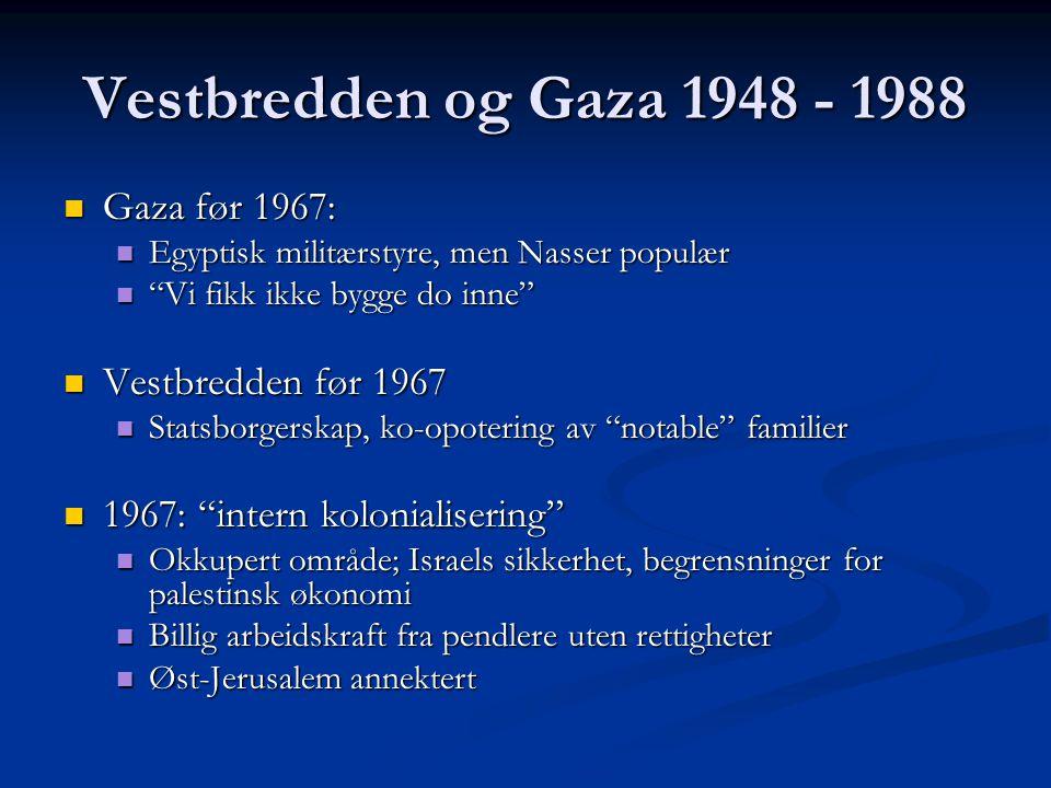 Vestbredden og Gaza 1948 - 1988 Gaza før 1967: Gaza før 1967: Egyptisk militærstyre, men Nasser populær Egyptisk militærstyre, men Nasser populær Vi fikk ikke bygge do inne Vi fikk ikke bygge do inne Vestbredden før 1967 Vestbredden før 1967 Statsborgerskap, ko-opotering av notable familier Statsborgerskap, ko-opotering av notable familier 1967: intern kolonialisering 1967: intern kolonialisering Okkupert område; Israels sikkerhet, begrensninger for palestinsk økonomi Okkupert område; Israels sikkerhet, begrensninger for palestinsk økonomi Billig arbeidskraft fra pendlere uten rettigheter Billig arbeidskraft fra pendlere uten rettigheter Øst-Jerusalem annektert Øst-Jerusalem annektert