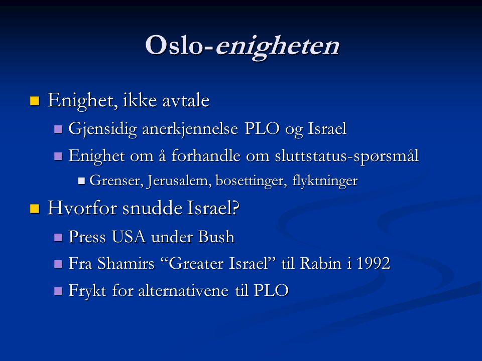Oslo-enigheten Enighet, ikke avtale Enighet, ikke avtale Gjensidig anerkjennelse PLO og Israel Gjensidig anerkjennelse PLO og Israel Enighet om å forh
